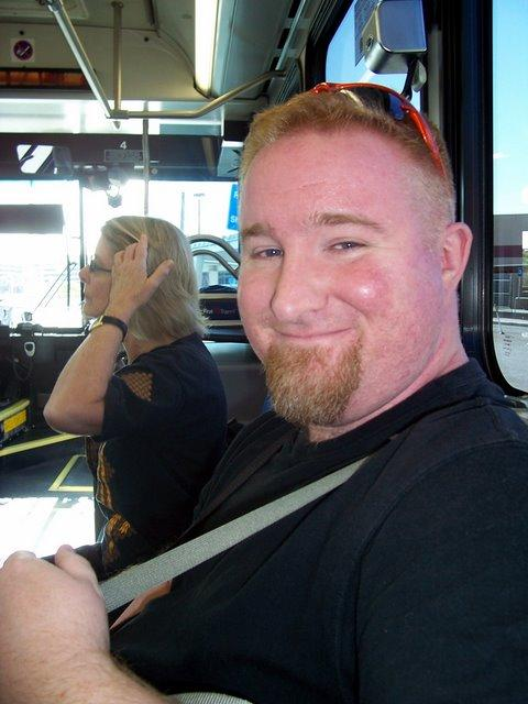 Chris on the shuttle bus