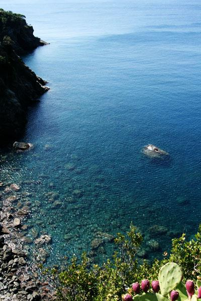 Shore of the Mediterranean along the trail from Manarola to Corniglia