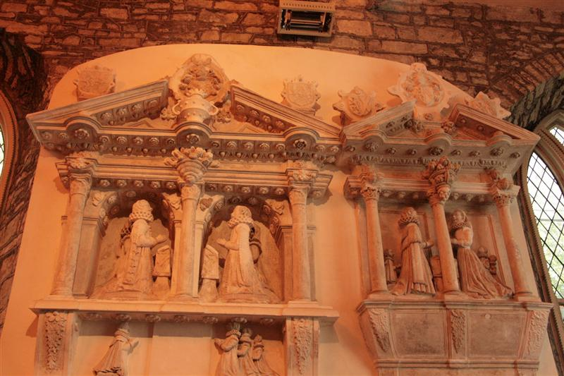 Memorial to a rich family killed in a Gunpowder exposion inside St Audoen's main chapel