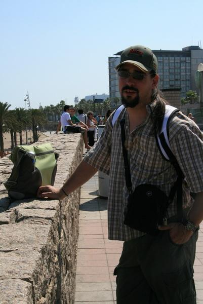 James at the beach in Barcelona