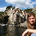Amanda in the harbor of Riomaggiore