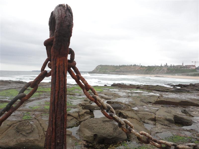 Vieux bastingage rouille a Newcastle