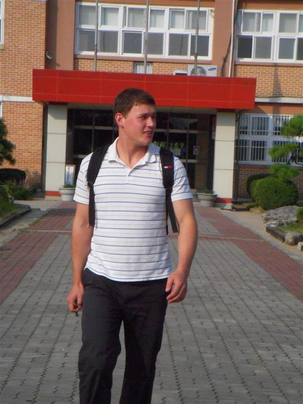 Teacher Adam leaving class for the day