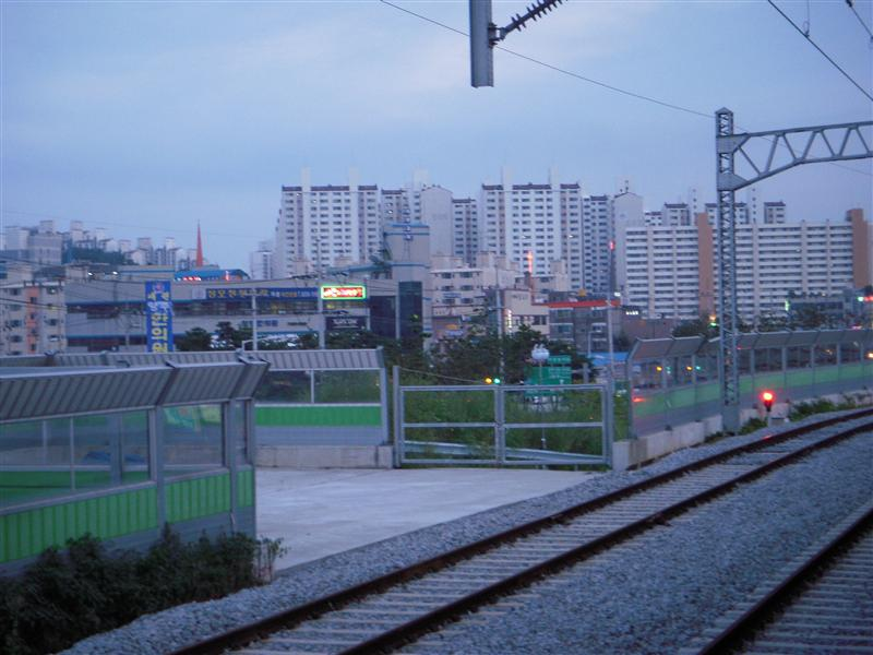 View of the highrises of our city from the train station