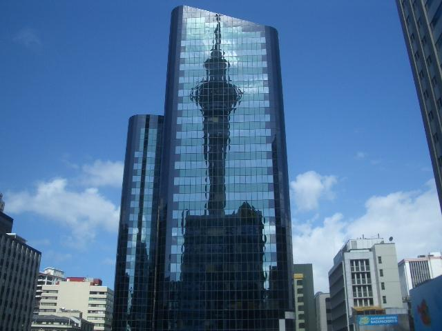 Reflection of the sky tower