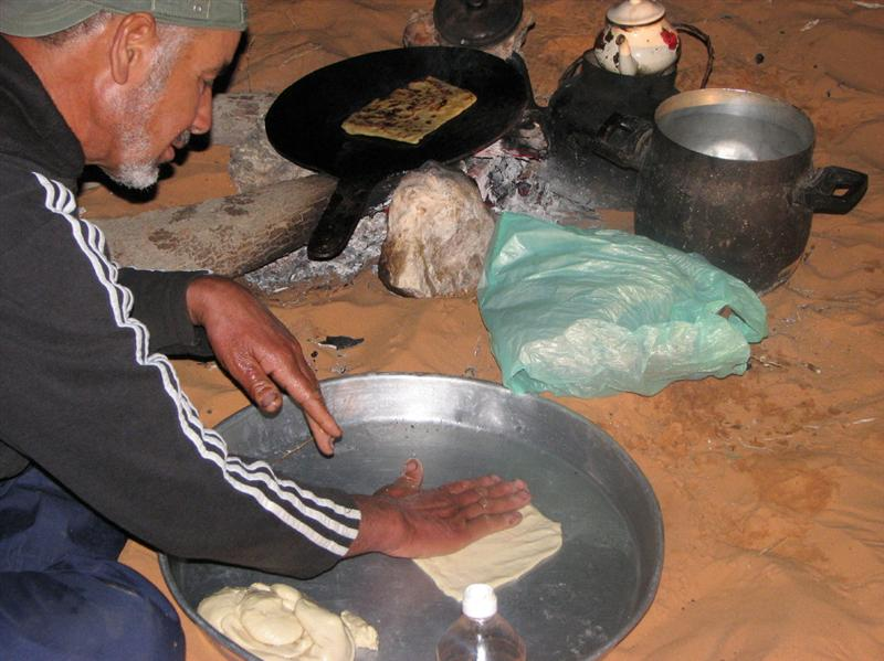 Nassir making sahara bread