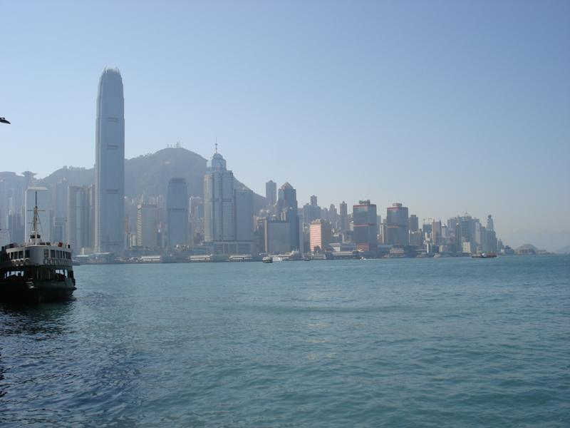 View over to Hong Kong Island from the Star Ferry Pier in Tsim Sha Tsui