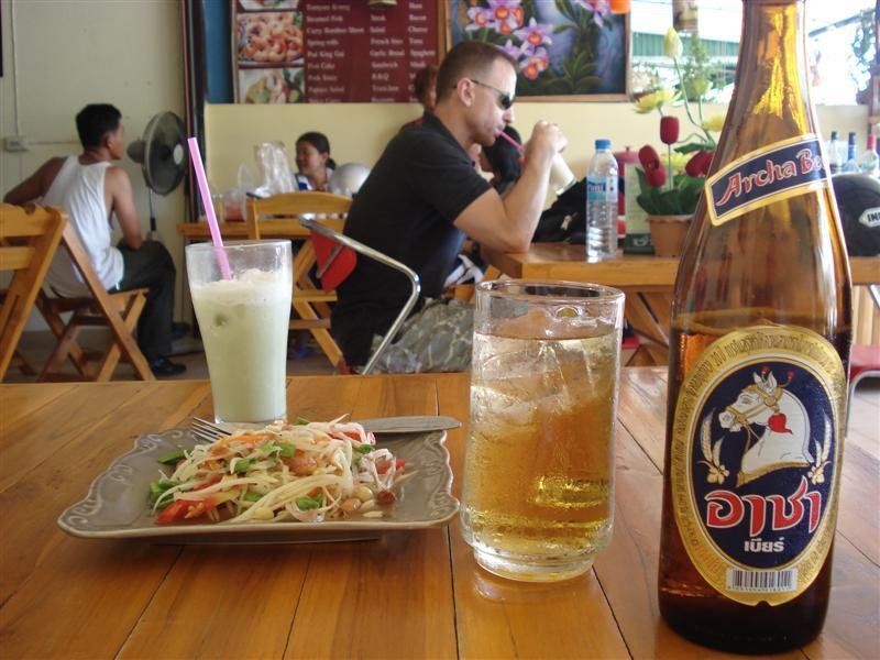 Spiceless som tam and Archa beer