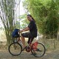 Unhappy Michael on a small asian bicycle!