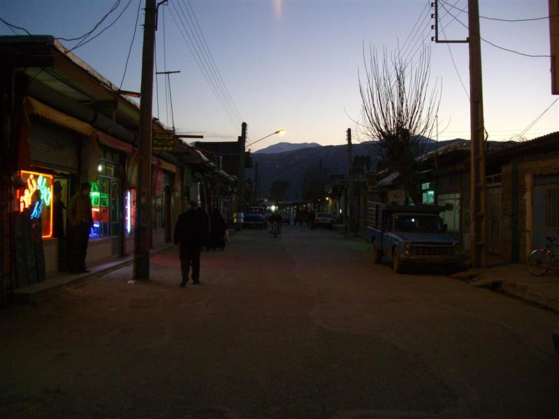 Main street in Piranshahr. The gravestone store is first on the left.
