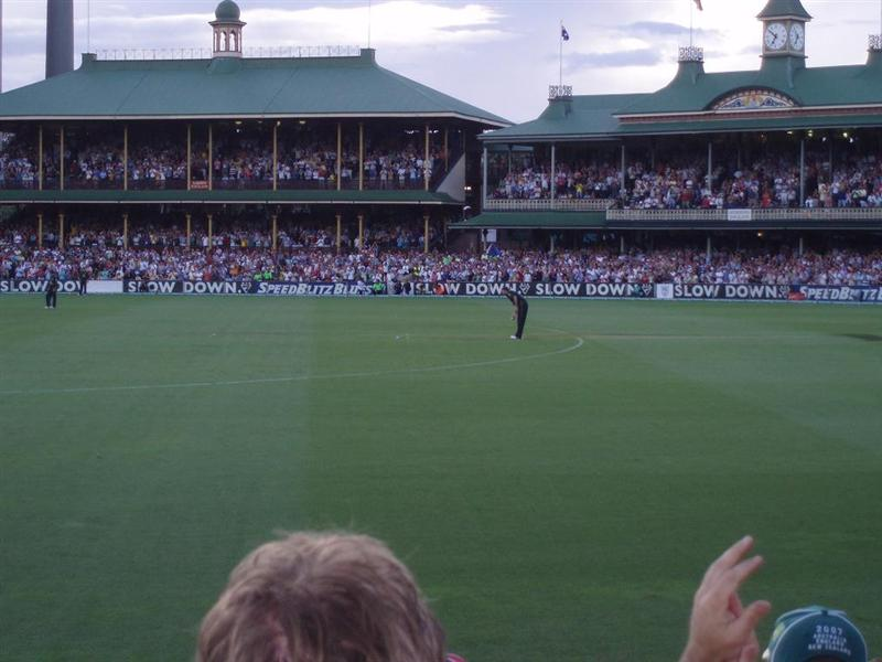 McGrath's final delivery.. hope he falls over!