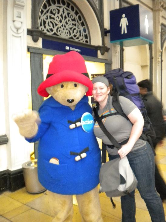 Aww, Paddington Bear and I lurking outside the mens loo.. we'll crop this photo I think..