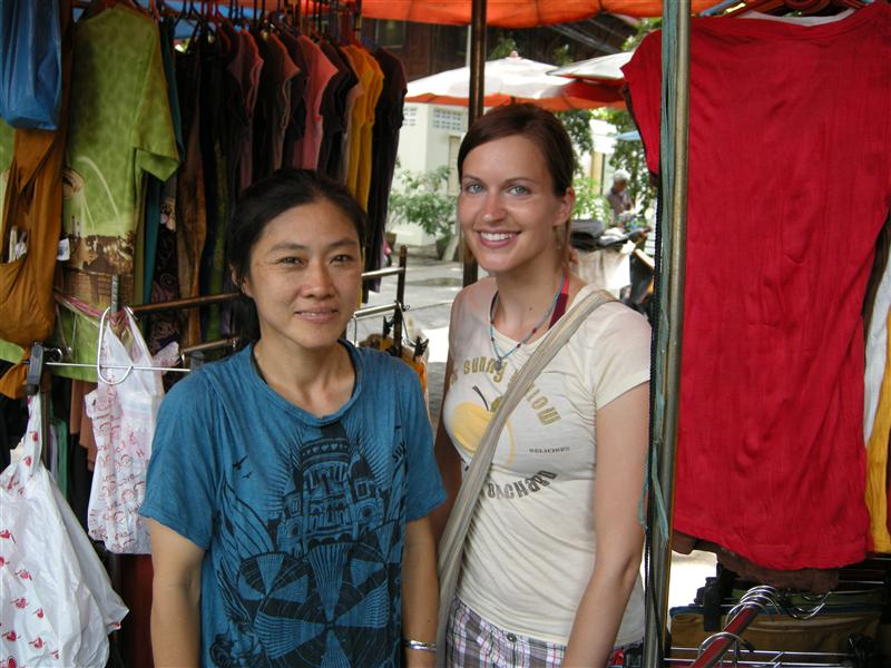 A hilarious woman who sold me a skirt.  I think she is deaf, but she was better at communicating than any other Thai person I've met