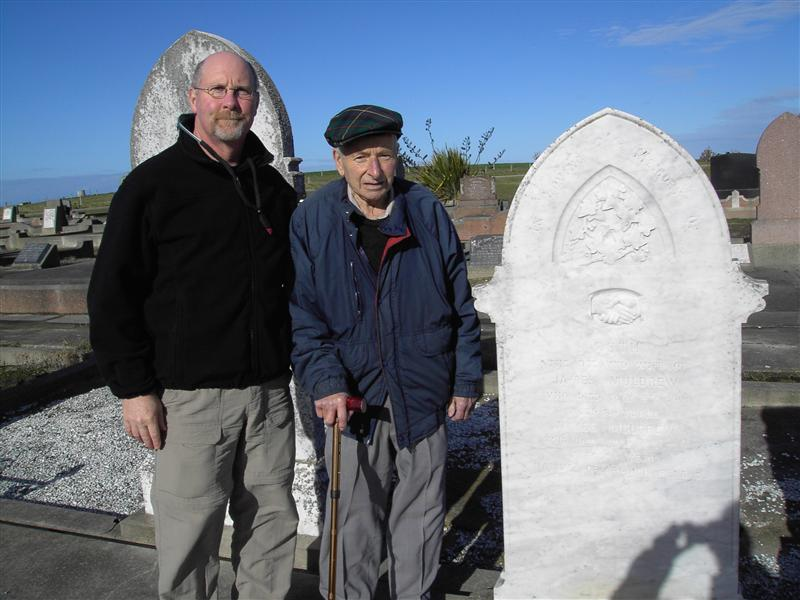Second Cousins Shane & Hugh A. Muldrew @ James and Ruth Muldrew's Gravesite - Maheno Cemetary