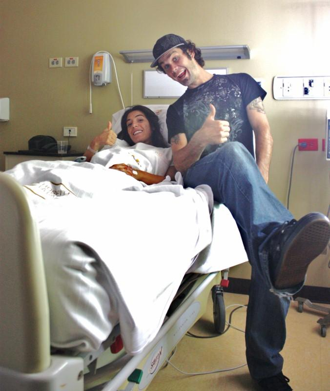 Ryand and Debb haning in the hospital room