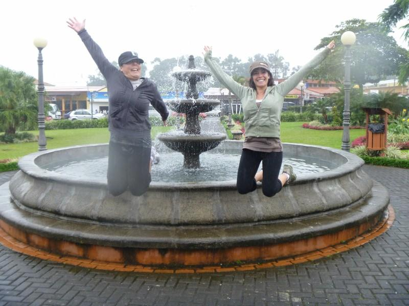 Jumping picture #2 in the cental park of La Fortuna