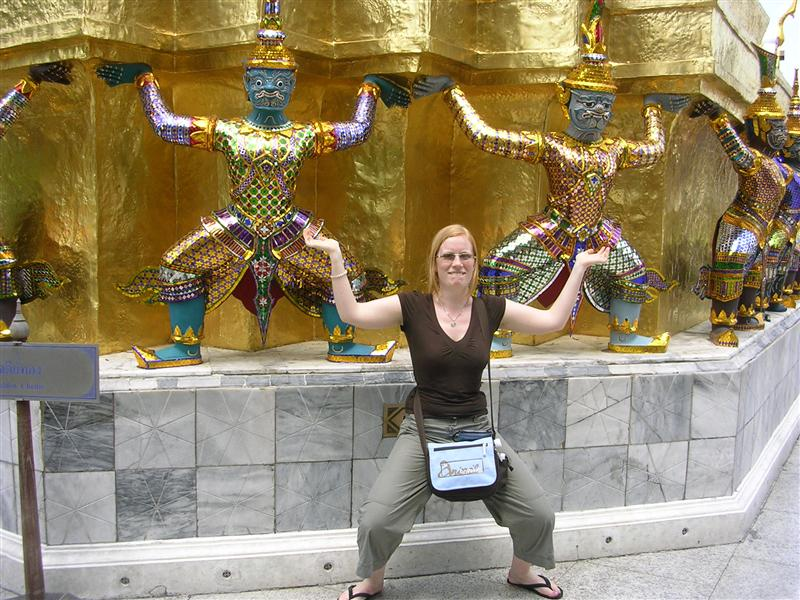 Erin holding up temple