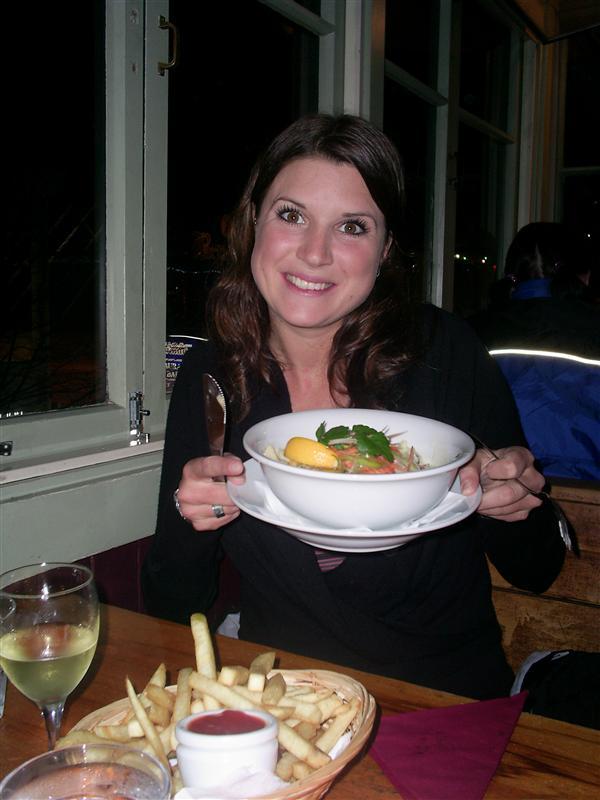 Murph with birthday dinner of New Zealand Salmon