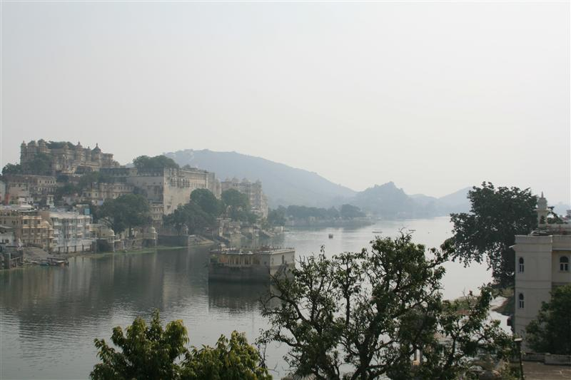 View of lake Pichola from our little hotel 