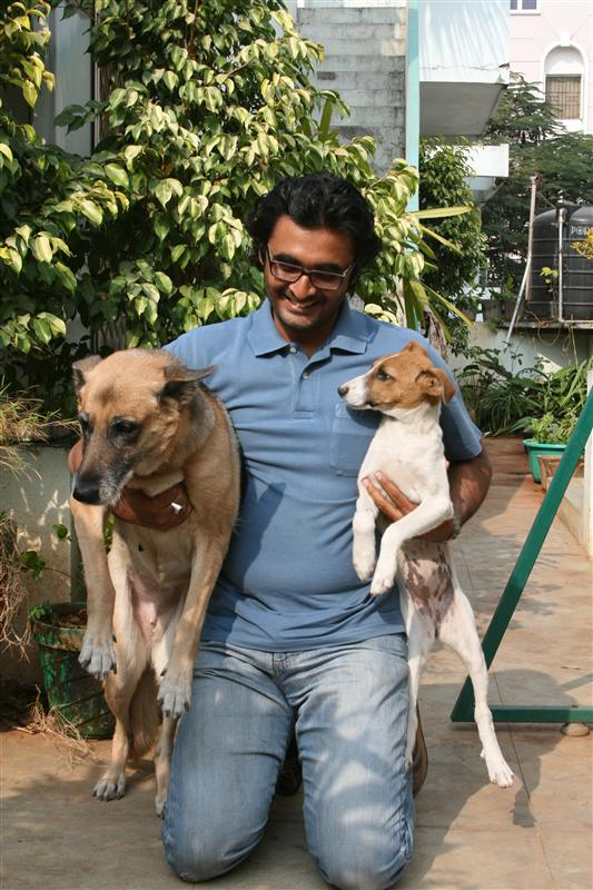Venky with his dogs he picked up from the street and saved
