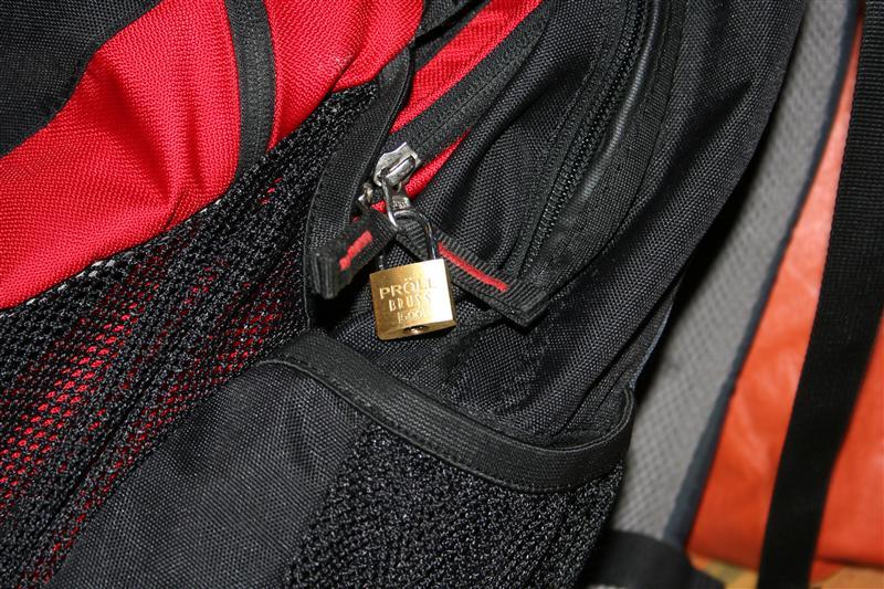 Rucksackschloss an Phillips Rucksack