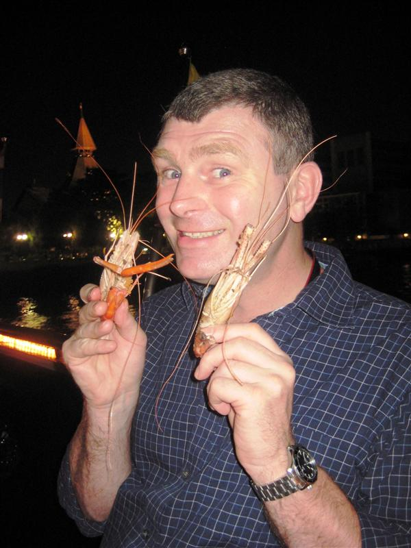 Happy Robert with two less lucky prawns...