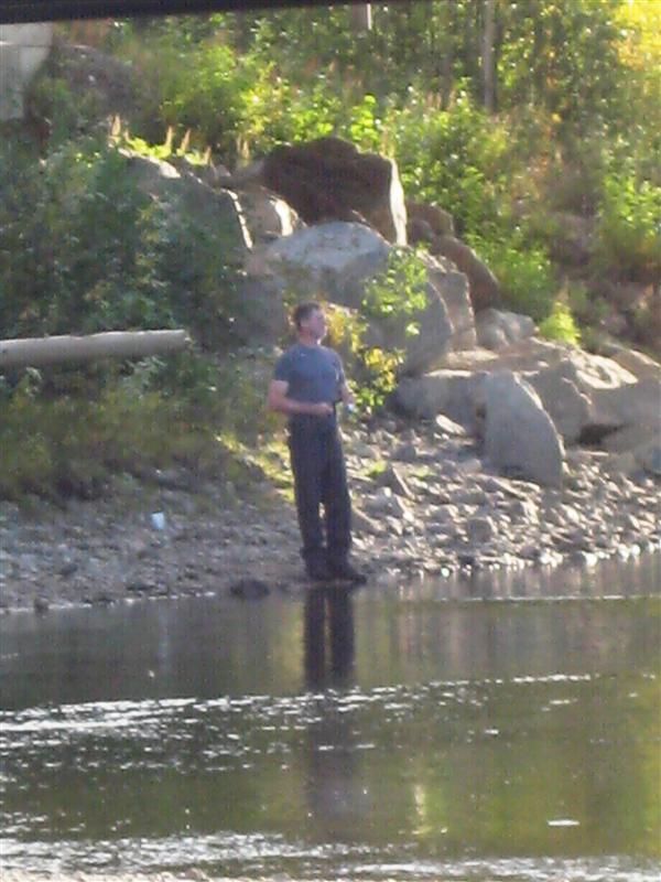 Robert fishing for dinner