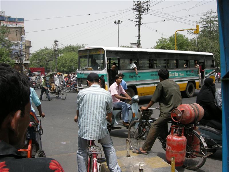 delhi intersection on a rickshaw