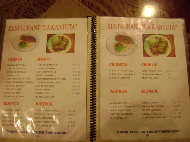 Menu from restaurant in Puno