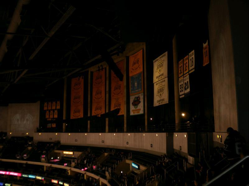 LA Lakers championship banners at Staples Center