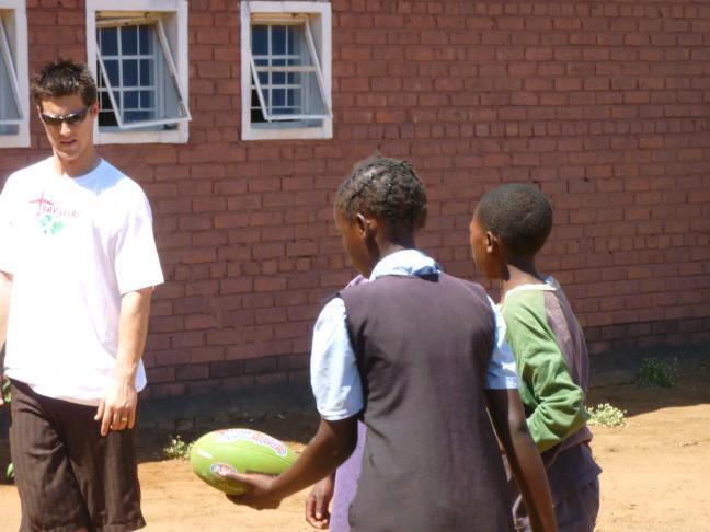 Children learning to handball