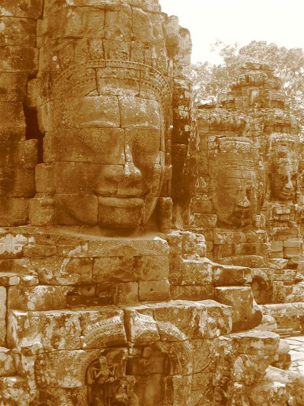 Stone Heads of Bodhisattva Avilokiteshvara, Bayon temple, Angkor, Cambodia