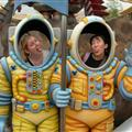 Trying on some space suits in Tomorrowland