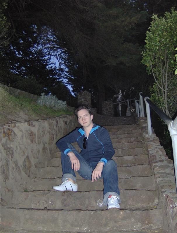 Slavy on the Coit Tower stairs